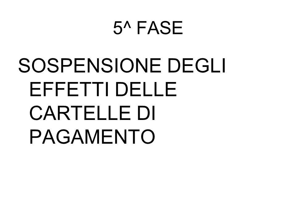 5^ FASE SOSPENSIONE DEGLI EFFETTI DELLE CARTELLE DI PAGAMENTO