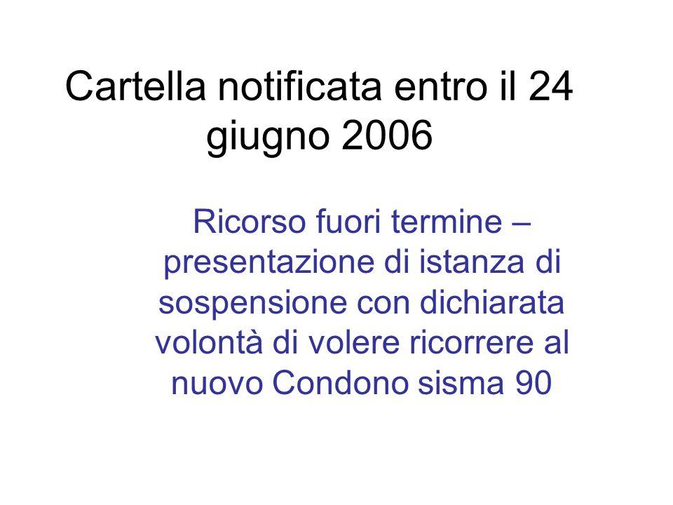 Cartella notificata entro il 24 giugno 2006 Ricorso fuori termine – presentazione di istanza di sospensione con dichiarata volontà di volere ricorrere