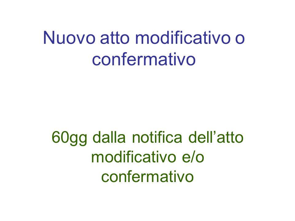 Nuovo atto modificativo o confermativo 60gg dalla notifica dellatto modificativo e/o confermativo