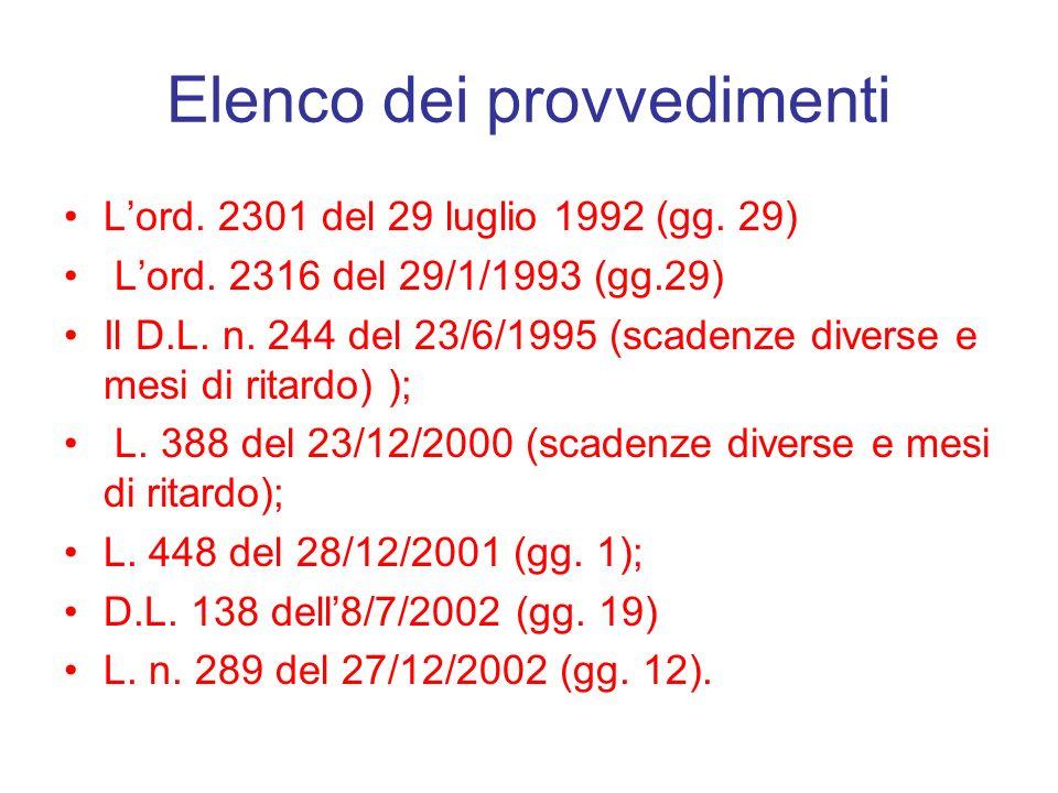 Elenco dei provvedimenti Lord. 2301 del 29 luglio 1992 (gg. 29) Lord. 2316 del 29/1/1993 (gg.29) Il D.L. n. 244 del 23/6/1995 (scadenze diverse e mesi