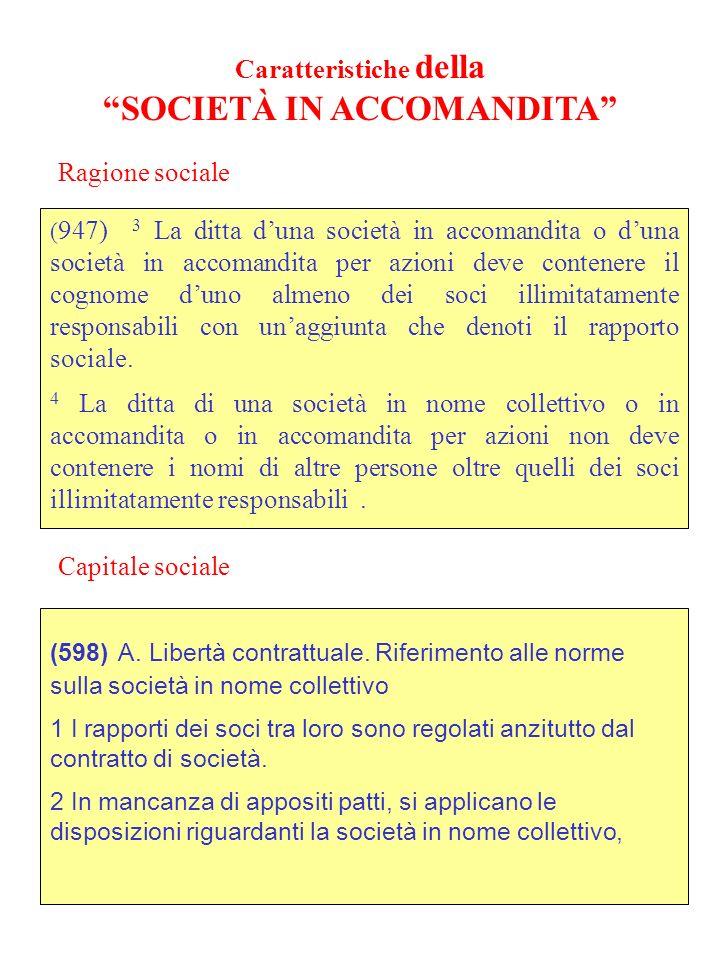 Caratteristiche della SOCIETÀ IN NOME COLLETTIVO (947) 1 La ditta duna società in nome collettivo, quando non comprenda il cognome di tutti i soci, de