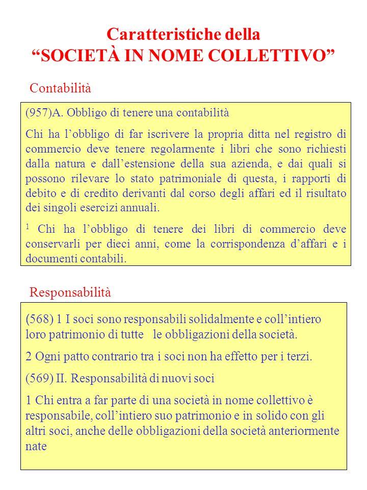 Caratteristiche della SOCIETÀ IN NOME COLLETTIVO (957)A.