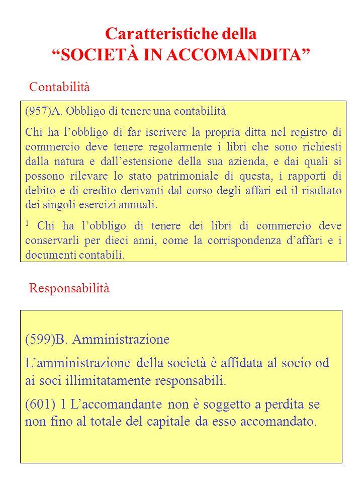 Caratteristiche della SOCIETÀ IN ACCOMANDITA (957)A.