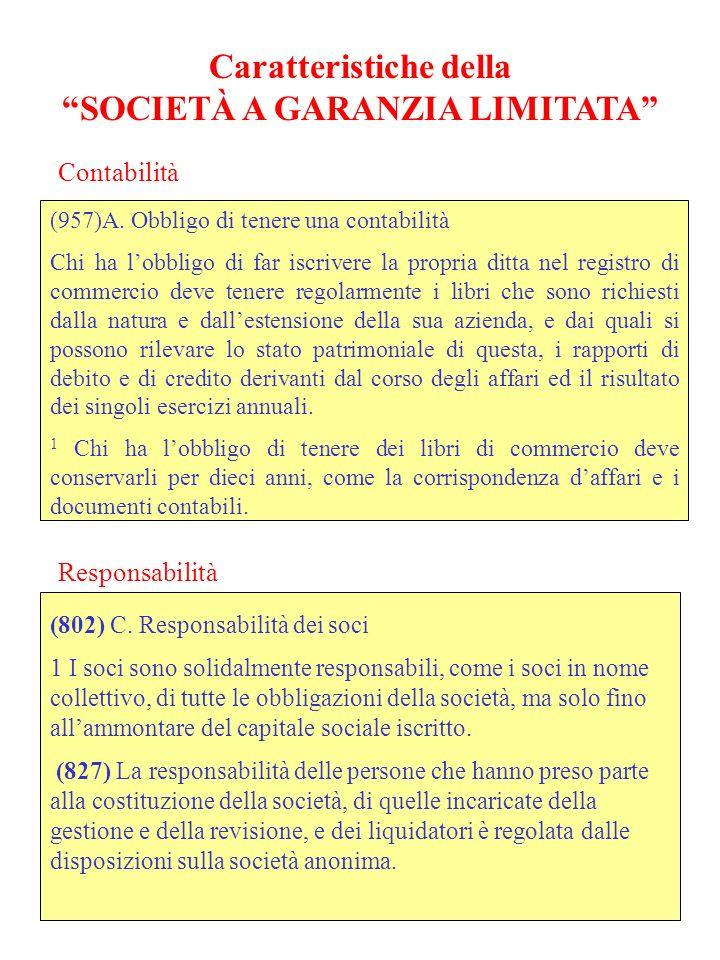 Caratteristiche della SOCIETÀ A GARANZIA LIMITATA (957)A.