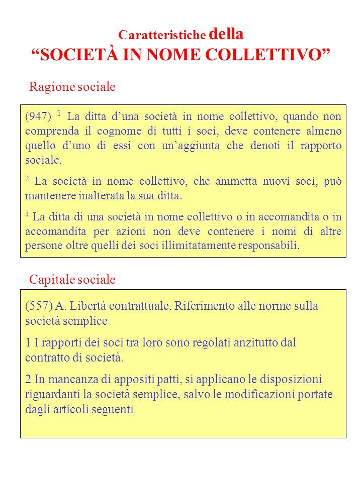 Caratteristiche della SOCIETÀ IN NOME COLLETTIVO (947) 1 La ditta duna società in nome collettivo, quando non comprenda il cognome di tutti i soci, deve contenere almeno quello duno di essi con unaggiunta che denoti il rapporto sociale.