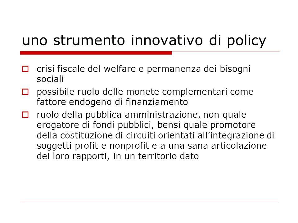 uno strumento innovativo di policy crisi fiscale del welfare e permanenza dei bisogni sociali possibile ruolo delle monete complementari come fattore