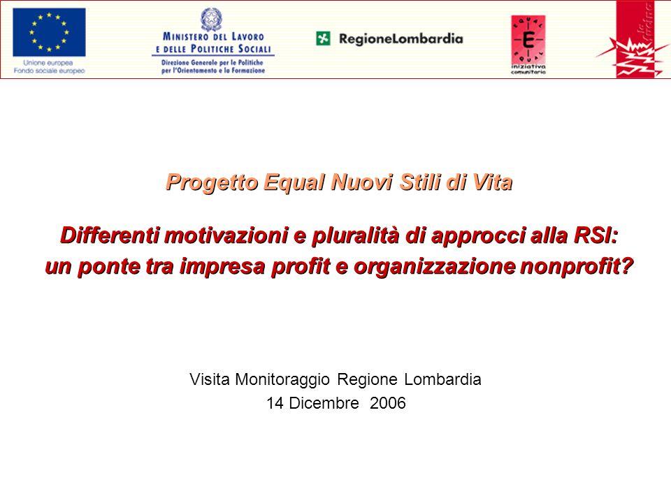 Progetto Equal Nuovi Stili di Vita Differenti motivazioni e pluralità di approcci alla RSI: un ponte tra impresa profit e organizzazione nonprofit? Vi