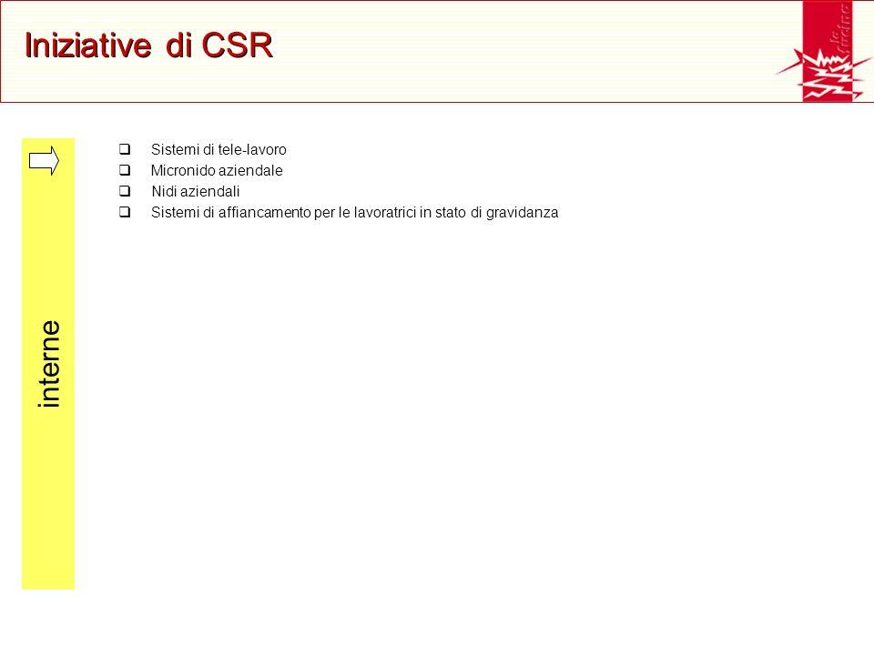 Iniziative di CSR Sistemi di tele-lavoro Micronido aziendale Nidi aziendali Sistemi di affiancamento per le lavoratrici in stato di gravidanza interne