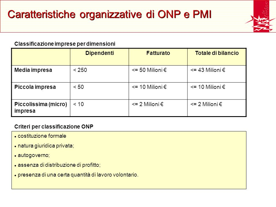 Caratteristiche organizzative di ONP e PMI costituzione formale natura giuridica privata; autogoverno; assenza di distribuzione di profitto; presenza