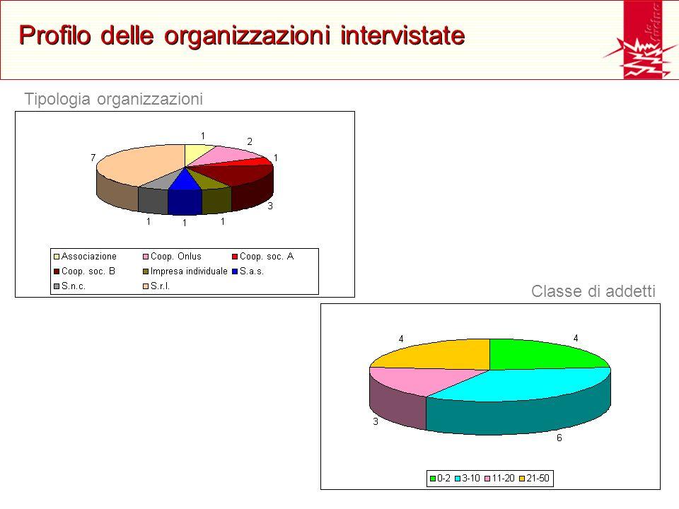 Profilo delle organizzazioni intervistate Tipologia organizzazioni Classe di addetti