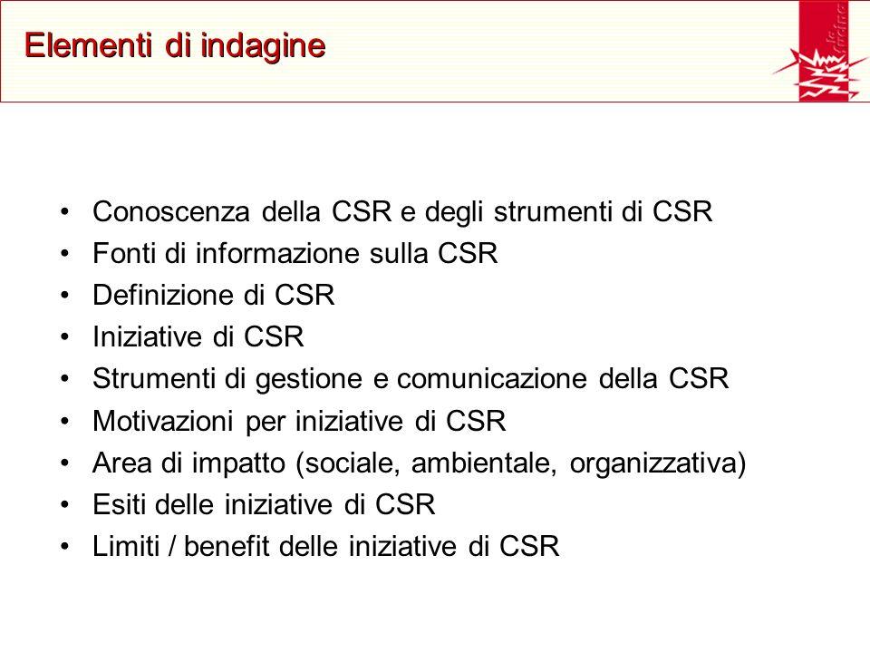 Elementi di indagine Conoscenza della CSR e degli strumenti di CSR Fonti di informazione sulla CSR Definizione di CSR Iniziative di CSR Strumenti di g
