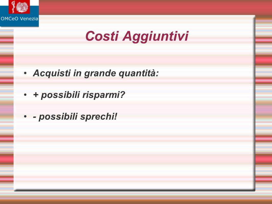 Costi Aggiuntivi Acquisti in grande quantità: + possibili risparmi? - possibili sprechi!