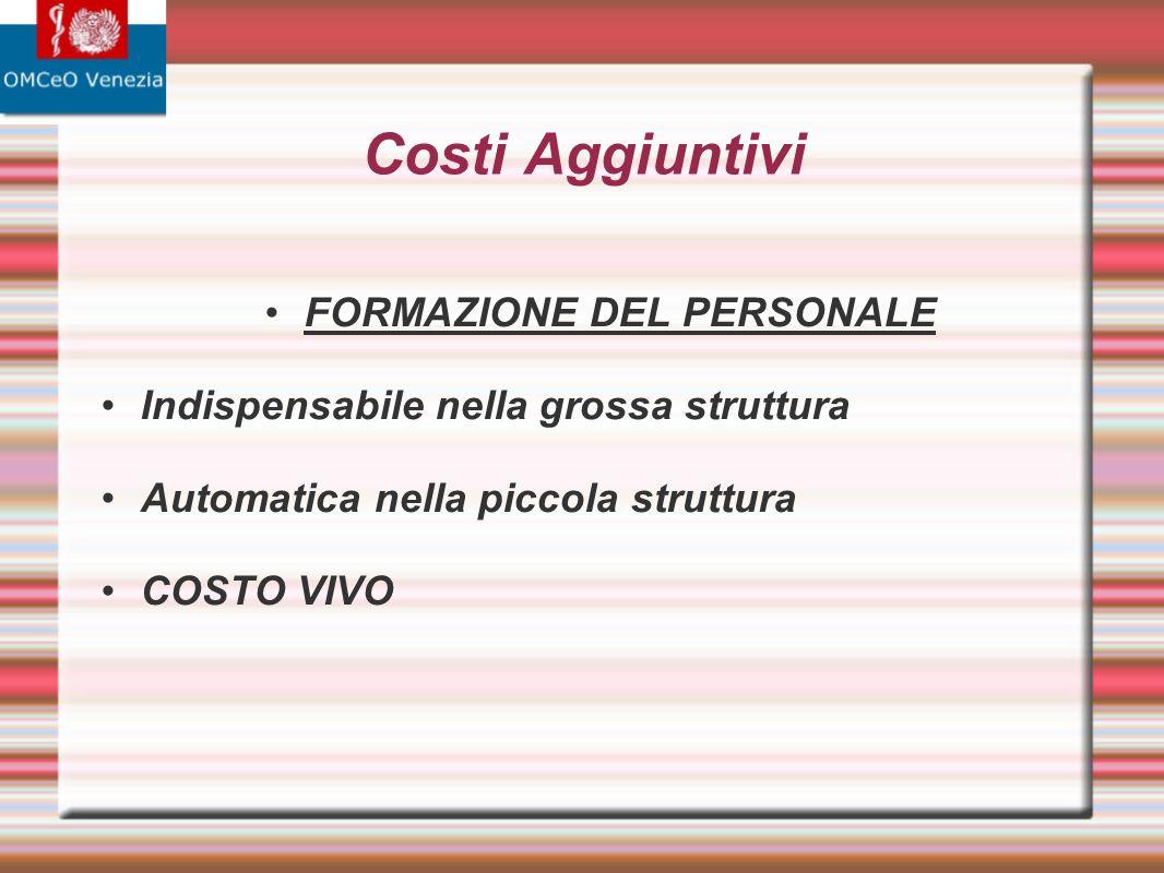 Costi Aggiuntivi FORMAZIONE DEL PERSONALE Indispensabile nella grossa struttura Automatica nella piccola struttura COSTO VIVO