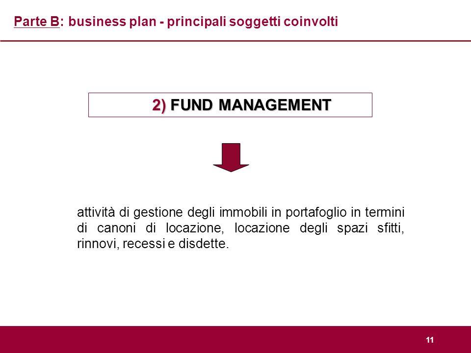 11 Parte B: business plan - principali soggetti coinvolti 2) FUND MANAGEMENT attività di gestione degli immobili in portafoglio in termini di canoni d