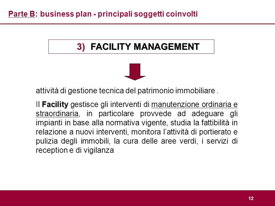 12 Parte B: business plan - principali soggetti coinvolti 3)FACILITY MANAGEMENT attività di gestione tecnica del patrimonio immobiliare. Facility Il F