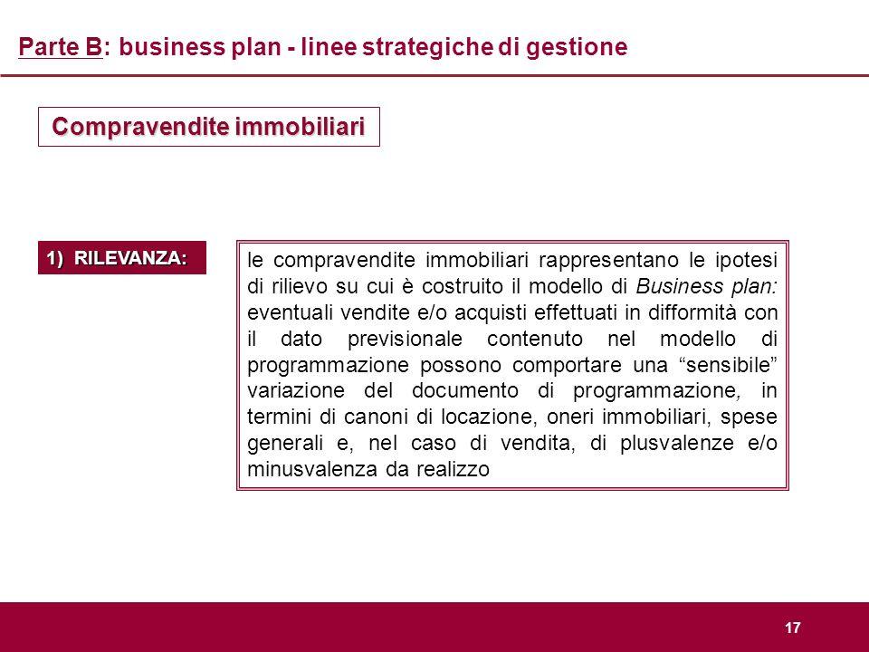 17 Parte B: business plan - linee strategiche di gestione Compravendite immobiliari le compravendite immobiliari rappresentano le ipotesi di rilievo s