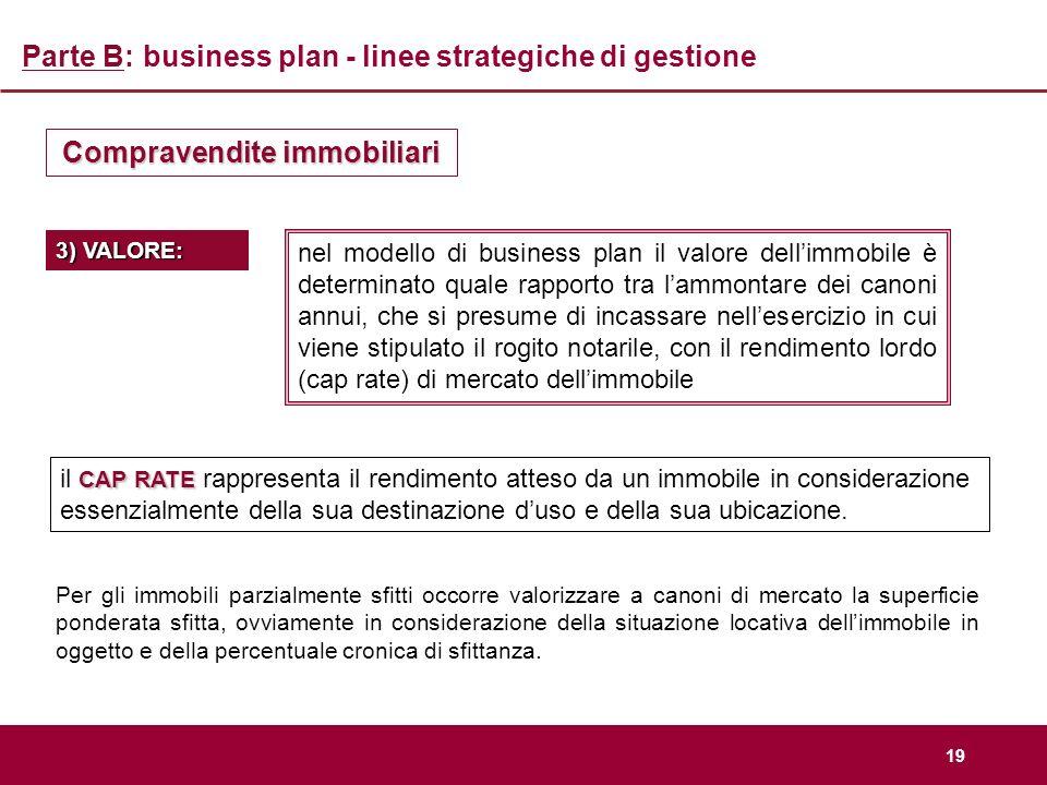 19 Parte B: business plan - linee strategiche di gestione Compravendite immobiliari nel modello di business plan il valore dellimmobile è determinato