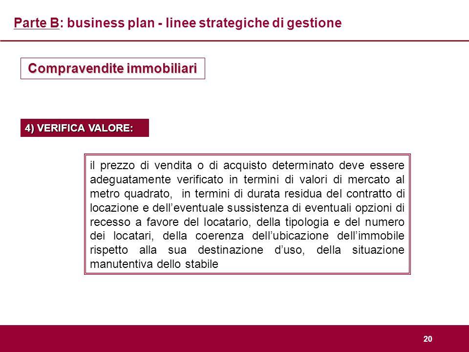 20 Parte B: business plan - linee strategiche di gestione Compravendite immobiliari 4) VERIFICA VALORE: il prezzo di vendita o di acquisto determinato