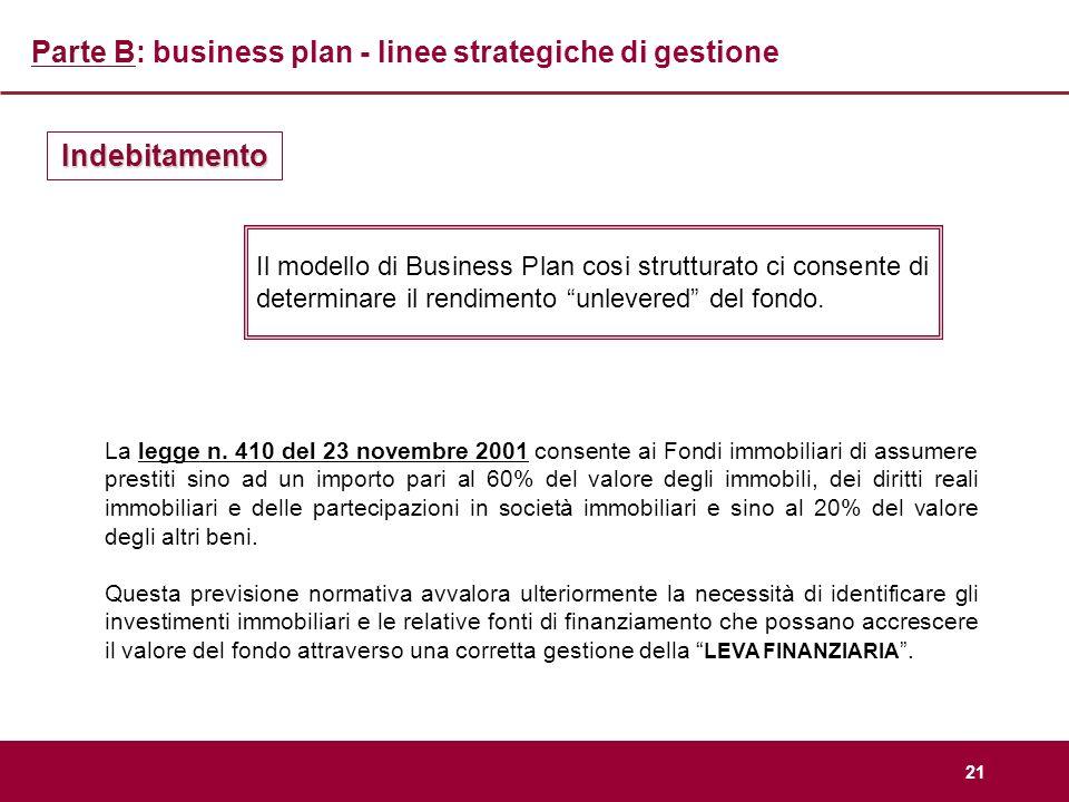 21 Parte B: business plan - linee strategiche di gestione Indebitamento Il modello di Business Plan cosi strutturato ci consente di determinare il ren