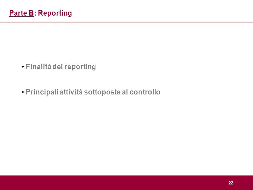 22 Parte B: Reporting Finalità del reporting Principali attività sottoposte al controllo