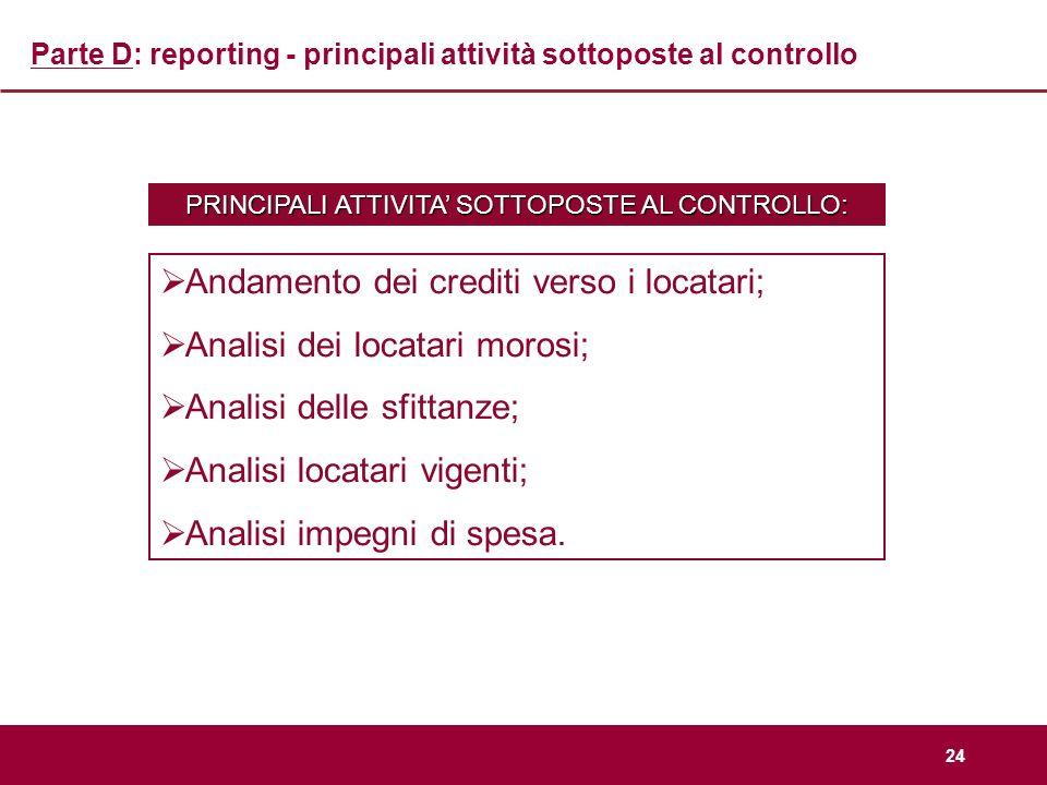 24 Parte D: reporting - principali attività sottoposte al controllo PRINCIPALI ATTIVITA SOTTOPOSTE AL CONTROLLO: Andamento dei crediti verso i locatar