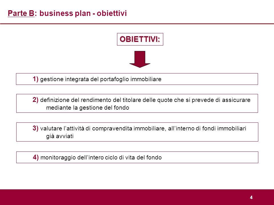 4 Parte B: business plan - obiettivi 1) gestione integrata del portafoglio immobiliare OBIETTIVI: 3) valutare lattività di compravendita immobiliare,