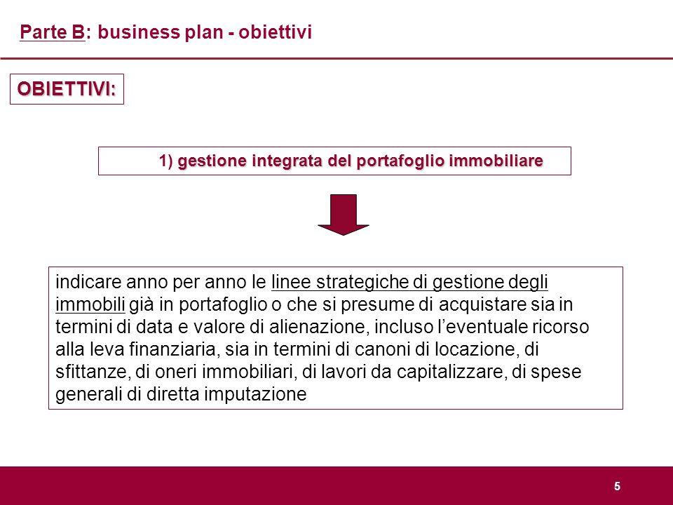 5 Parte B: business plan - obiettivi gestione integrata del portafoglio immobiliare 1) gestione integrata del portafoglio immobiliare OBIETTIVI: indic