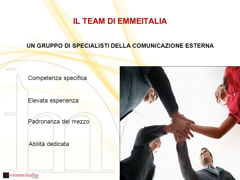 IL TEAM DI EMMEITALIA Competenza specifica Elevata esperienza Padronanza del mezzo Abilità dedicata UN GRUPPO DI SPECIALISTI DELLA COMUNICAZIONE ESTERNA