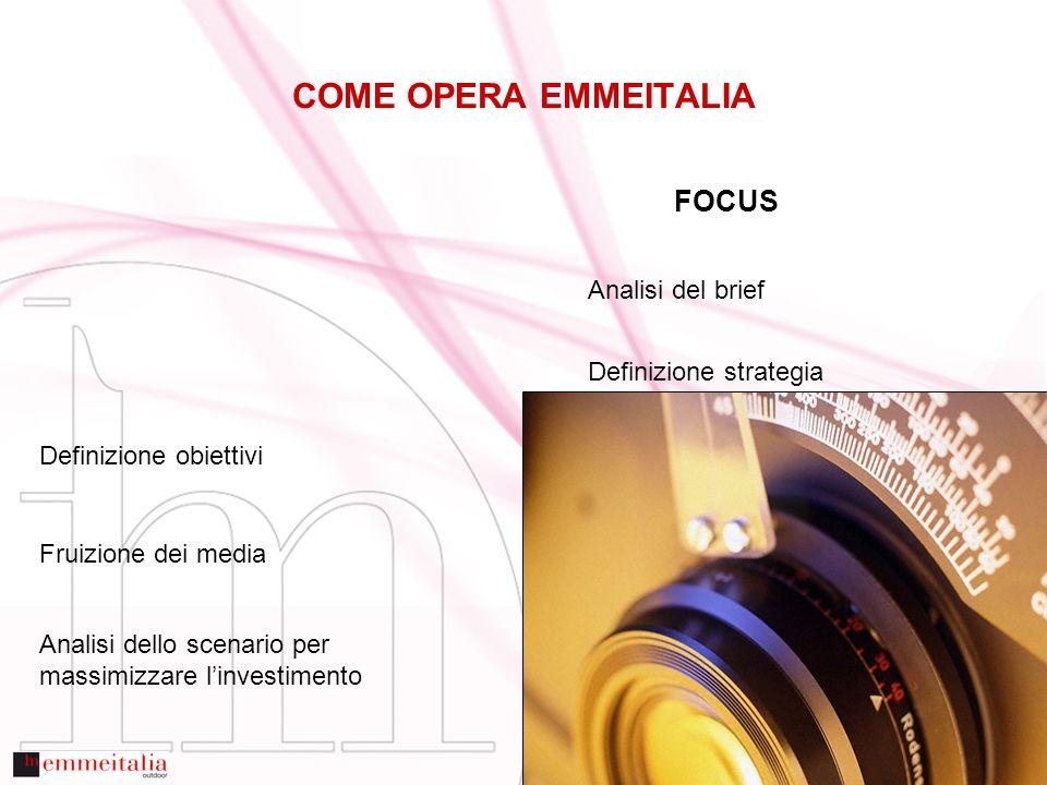 FOCUS Analisi del brief Definizione strategia Definizione obiettivi Fruizione dei media Analisi dello scenario per massimizzare linvestimento COME OPERA EMMEITALIA