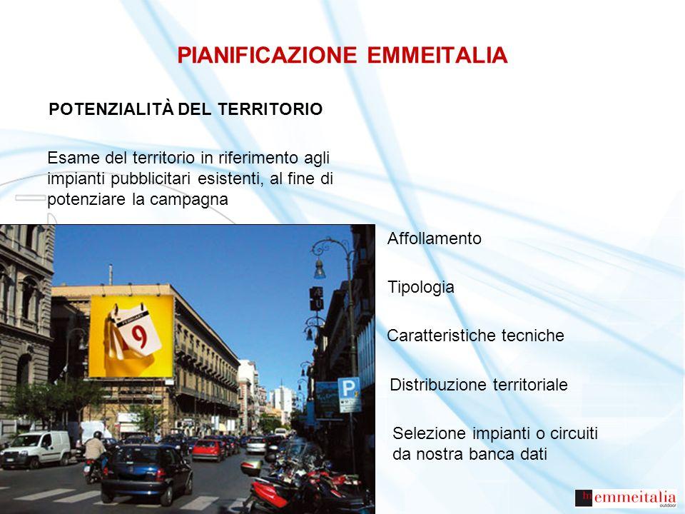 PIANIFICAZIONE EMMEITALIA POTENZIALITÀ DEL TERRITORIO Esame del territorio in riferimento agli impianti pubblicitari esistenti, al fine di potenziare
