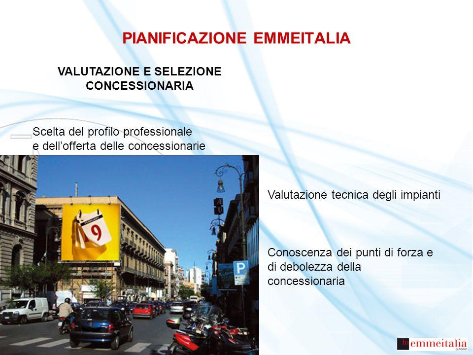 PIANIFICAZIONE EMMEITALIA VALUTAZIONE E SELEZIONE CONCESSIONARIA Scelta del profilo professionale e dellofferta delle concessionarie Valutazione tecni