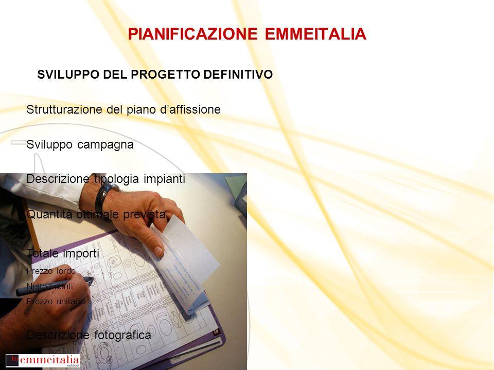 PIANIFICAZIONE EMMEITALIA SVILUPPO DEL PROGETTO DEFINITIVO Strutturazione del piano daffissione Sviluppo campagna Descrizione tipologia impianti Quant