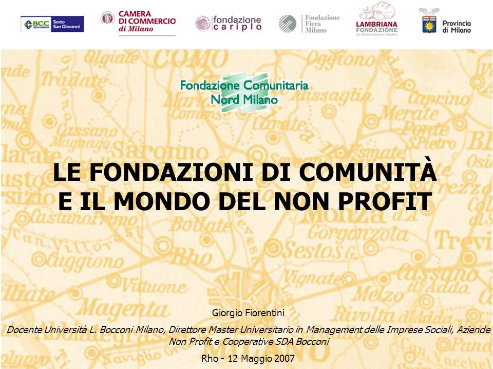 LE FONDAZIONI DI COMUNITÀ E IL MONDO DEL NON PROFIT Giorgio Fiorentini Docente Università L.