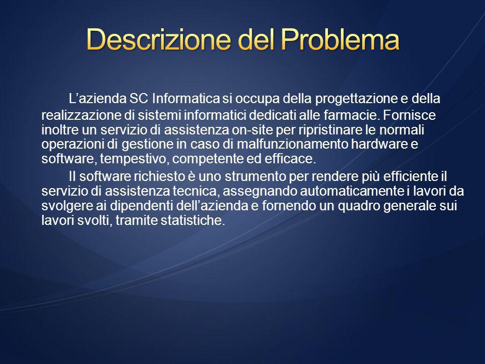 Si richiede di realizzare un programma di gestione per SC Informatica, azienda che si occupa di assistenza hardware e software presso le farmacie.