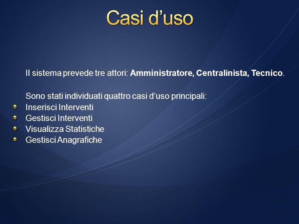 Il sistema prevede tre attori: Amministratore, Centralinista, Tecnico.