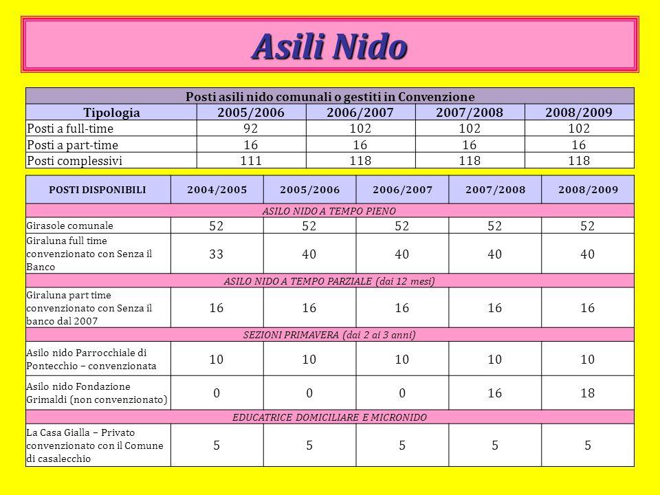 Asili Nido Posti asili nido comunali o gestiti in Convenzione Tipologia2005/20062006/20072007/20082008/2009 Posti a full-time92102 Posti a part-time16