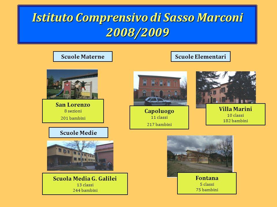 Istituto Comprensivo di Sasso Marconi 2008/2009 Scuola Media G. Galilei 13 classi 244 bambini Villa Marini 10 classi 182 bambini Scuole Elementari Fon