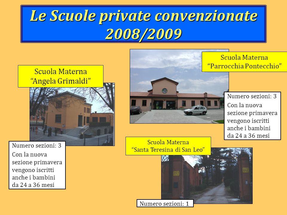 Le Scuole private convenzionate 2008/2009 Numero sezioni: 3 Con la nuova sezione primavera vengono iscritti anche i bambini da 24 a 36 mesi Numero sez