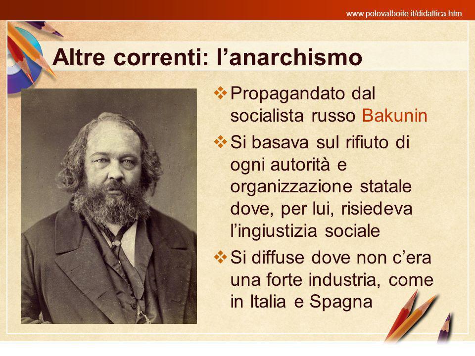 www.polovalboite.it/didattica.htm Altre correnti: lanarchismo Propagandato dal socialista russo Bakunin Si basava sul rifiuto di ogni autorità e organ