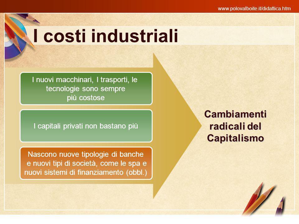 www.polovalboite.it/didattica.htm I costi industriali I nuovi macchinari, I trasporti, le tecnologie sono sempre più costose I capitali privati non ba