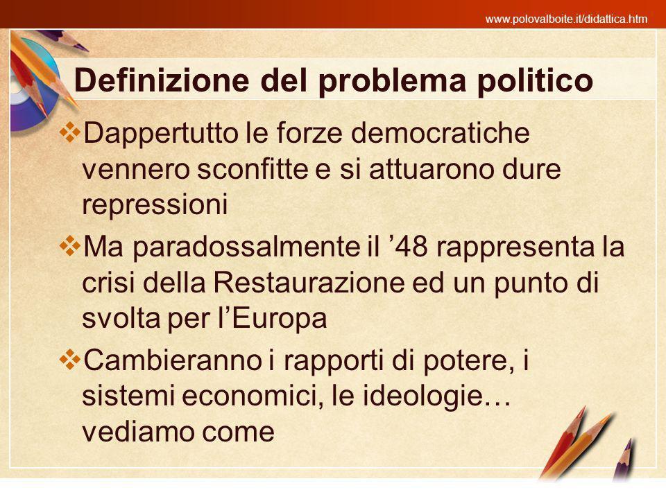 www.polovalboite.it/didattica.htm Definizione del problema politico Dappertutto le forze democratiche vennero sconfitte e si attuarono dure repression