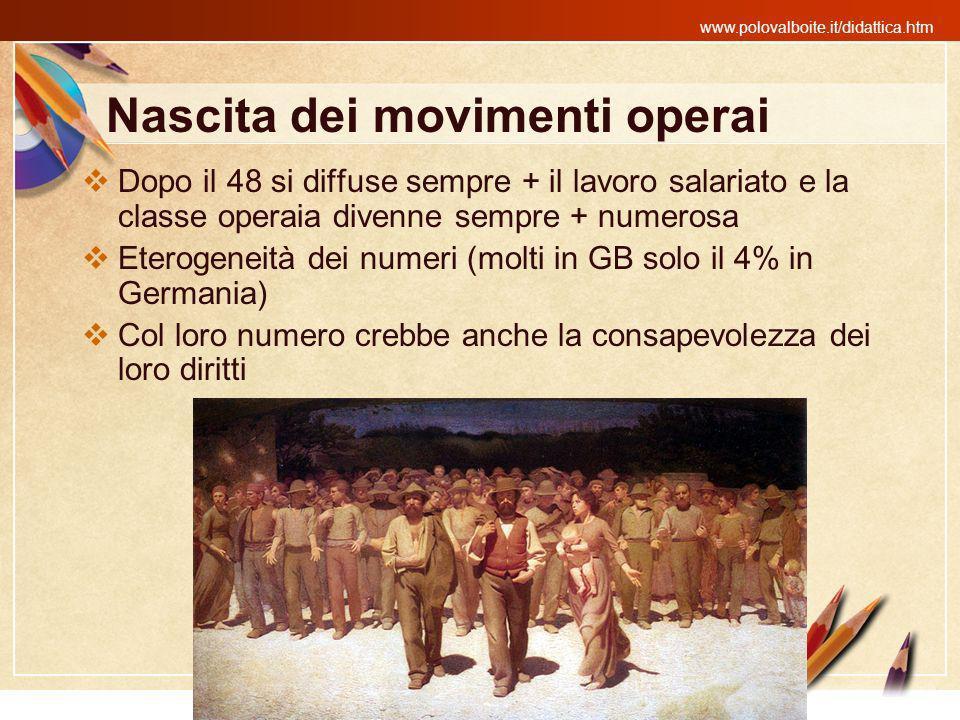 www.polovalboite.it/didattica.htm Nascita dei movimenti operai Dopo il 48 si diffuse sempre + il lavoro salariato e la classe operaia divenne sempre +
