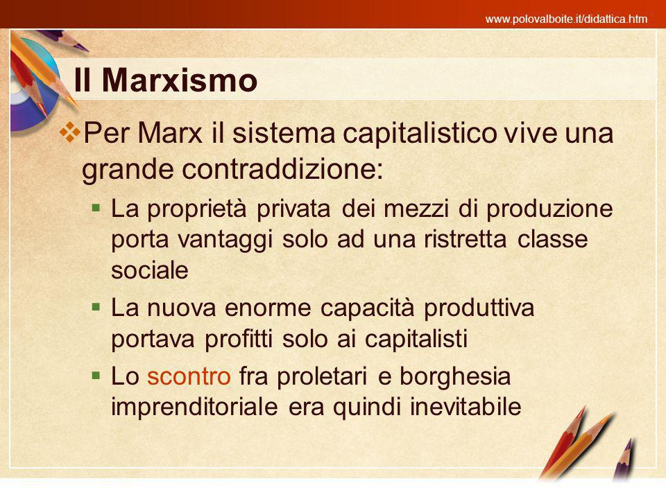 www.polovalboite.it/didattica.htm Il Marxismo Per Marx il sistema capitalistico vive una grande contraddizione: La proprietà privata dei mezzi di prod