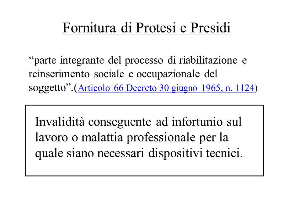 Fornitura di Protesi e Presidi parte integrante del processo di riabilitazione e reinserimento sociale e occupazionale del soggetto.( Articolo 66 Decreto 30 giugno 1965, n.