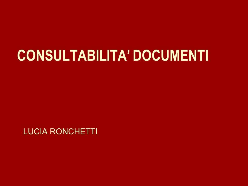 CONSULTABILITA DOCUMENTI LUCIA RONCHETTI