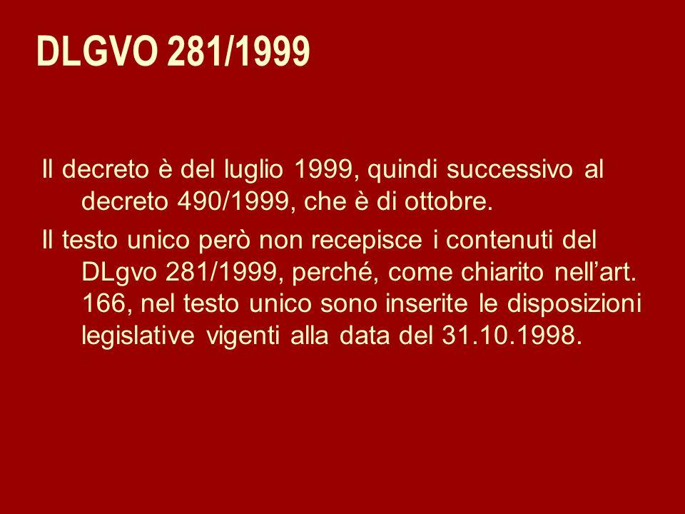 DLGVO 281/1999 Il decreto è del luglio 1999, quindi successivo al decreto 490/1999, che è di ottobre. Il testo unico però non recepisce i contenuti de