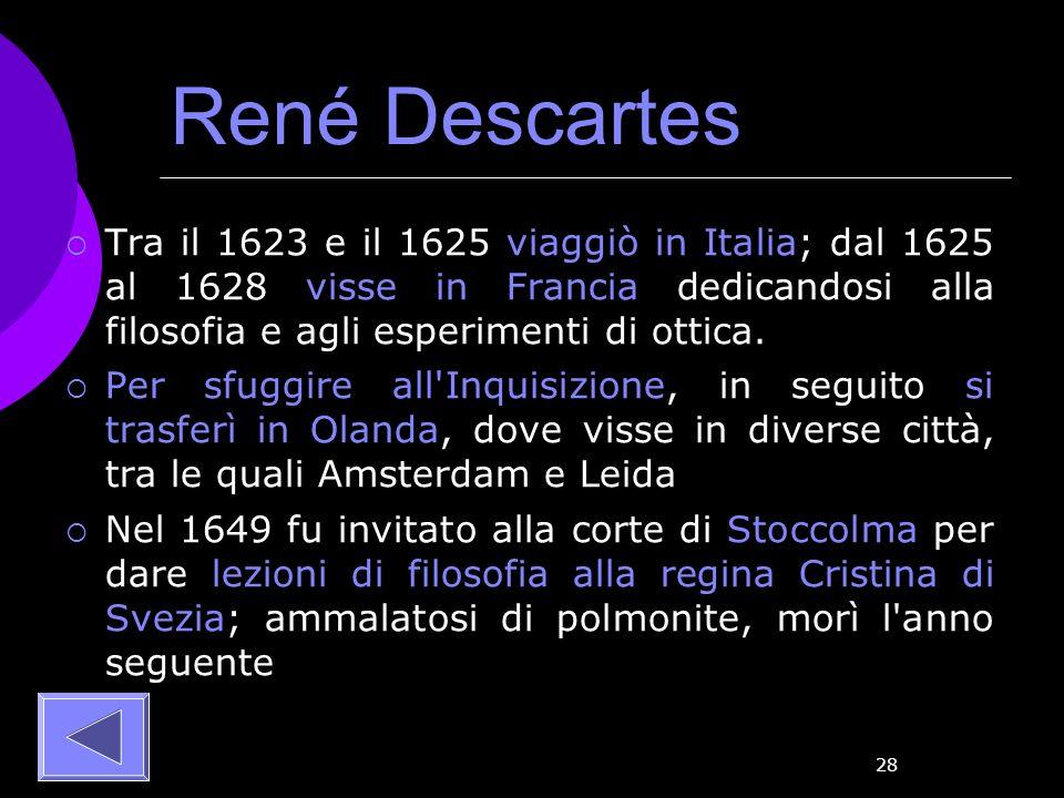 28 René Descartes Tra il 1623 e il 1625 viaggiò in Italia; dal 1625 al 1628 visse in Francia dedicandosi alla filosofia e agli esperimenti di ottica.