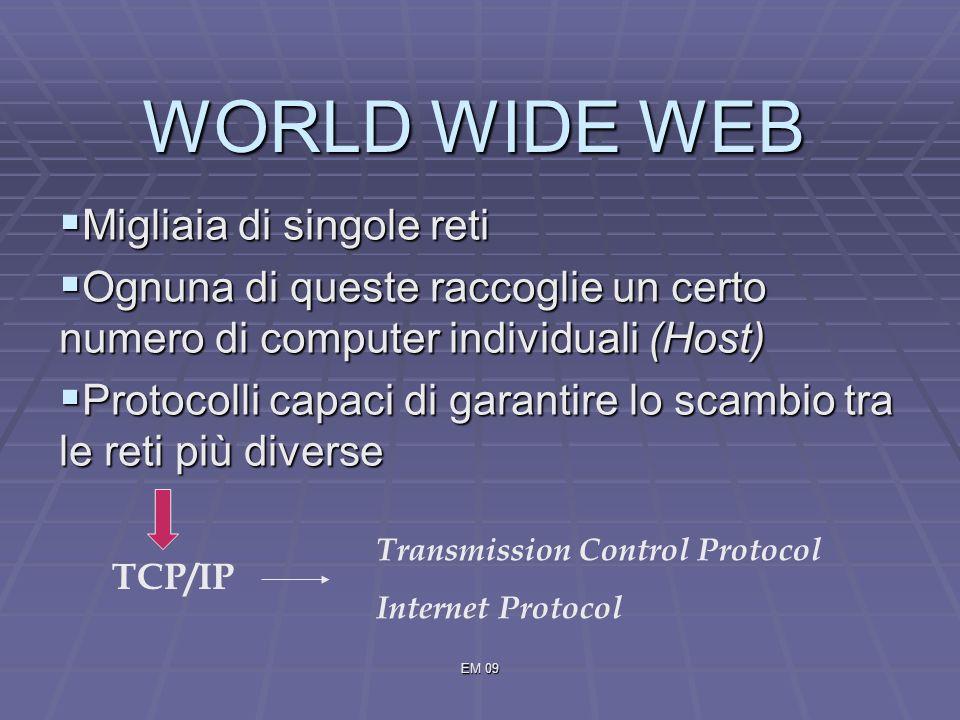 EM 09 WORLD WIDE WEB Migliaia di singole reti Migliaia di singole reti Ognuna di queste raccoglie un certo numero di computer individuali (Host) Ognuna di queste raccoglie un certo numero di computer individuali (Host) Protocolli capaci di garantire lo scambio tra le reti più diverse Protocolli capaci di garantire lo scambio tra le reti più diverse TCP/IP Transmission Control Protocol Internet Protocol