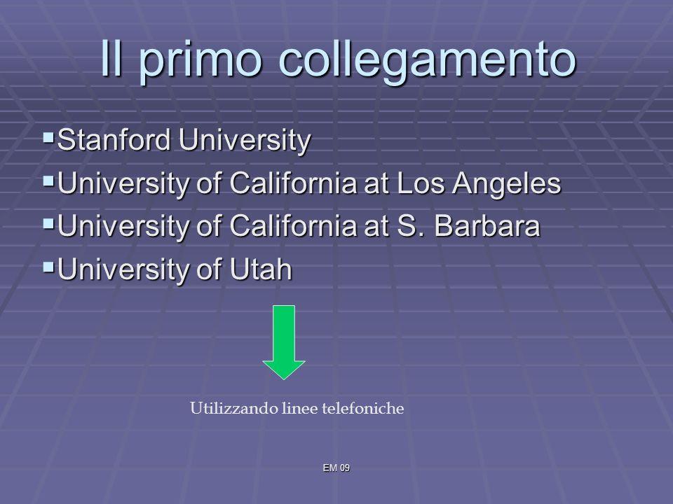 EM 09 Il primo collegamento Stanford University Stanford University University of California at Los Angeles University of California at Los Angeles University of California at S.