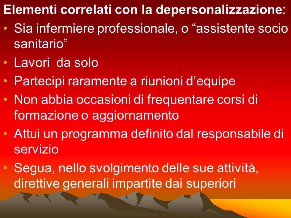 Elementi correlati con la depersonalizzazione: Sia infermiere professionale, o assistente socio sanitario Lavori da solo Partecipi raramente a riunion